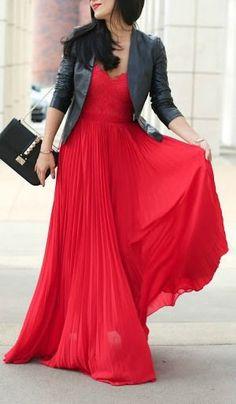 Red maxi dress jean jacket 54 New ideas Dress With Jean Jacket, Leather Jacket Dress, Leather Dresses, Trendy Dresses, Cute Dresses, Beautiful Dresses, Fashion Dresses, Maxi Outfits, Maxi Dresses