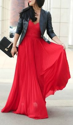 Valentine's Day maxi dress in red with black leather jacket | Red Hot Red Dresses For Valentine's Day | www.divinestyle.co