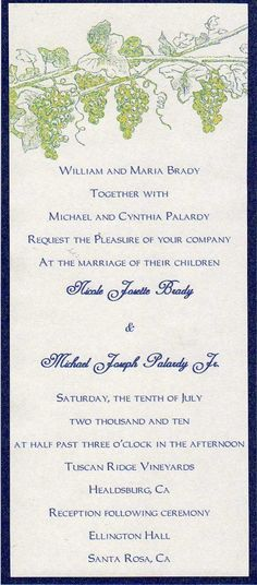 Wine country vineyard themed grape wedding Invitation. $4.00, via Etsy.