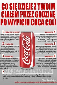 Czy wiesz co się dzieje z Twoim ciałem przez godzinę po wypiciu coca coli Healthy Facts, Healthy Tips, Fit Board Workouts, Psychology Facts, Best Diets, Food Hacks, Nutrition, Coca Cola, Health And Beauty
