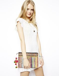 Image 3 ofASOS Clutch Bag With Weave And Embellished Fringing
