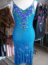Vtg 80s glam Beaded Silk Floral Dress gown drag party trophy sequin cut out