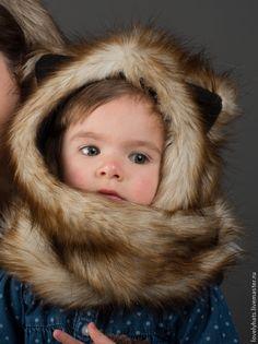 Купить Зверошапка Рыжий Хаски -дитя - шапка с ушками, ушкошапка, зверошапка, волкошапка, модная шапка