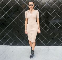 Nude button dress + black boots
