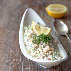 Katkarapusalaatti Bon Appetit, Potato Salad, Salmon, Recipies, Keto, Fish, Dinner, Ethnic Recipes, Recipes