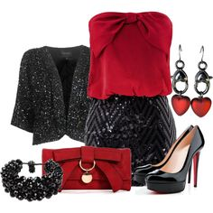 Red Bow Bag, created by dgia on Polyvore