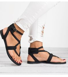 b3c960716481 Summer Casual Beach Rome Style Gladiator Sandals Flats. Summer FlatsSandals  2018Women's Shoes SandalsStrap ...