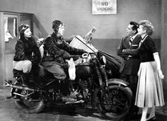 Vivian Vance and Bill Frawley ride in on a motorcycle in front of a dismayed Desi Arnaz and Lucille Ball in the television series 'I Love Lucy' 1951 William Frawley, I Love Lucy Show, Vivian Vance, Lucille Ball Desi Arnaz, Lucy And Ricky, The Lone Ranger, Old Shows, Madly In Love, Old Tv