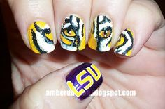 Amber did it!: Go Tigers! LSU Nail art!
