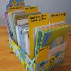 Organizing Greeting Cards Organizing, Organization, Getting Organized, Greeting Cards, Joy, Storage, Home Decor, Homemade Home Decor, Organisation