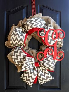 Chevron Wreath Door Wreaths Summer Wreath for by OurSentiments Diy Wreath, Door Wreaths, Wreath Making, Wreath Ideas, Cute Crafts, Diy And Crafts, Chevron Burlap Wreaths, Monogram Wreath, Burlap Monogram