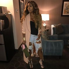 "Rasheeda on Instagram: ""#calinights Light Distressed Bermudas & Jacket from PRESSEDATL.COM .....Boots: #giuseppezanotti ...Bag: #chanel "" Dope Fashion, I Love Fashion, Fashion Looks, Womens Fashion, Simply Fashion, Chic Outfits, Fashion Outfits, Fall Outfits, Fashion Ideas"