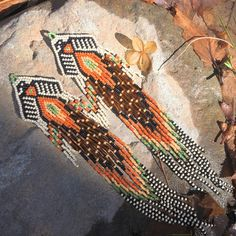 Birds Of Paradise Earrings  seed bead  beaded tribal fringe