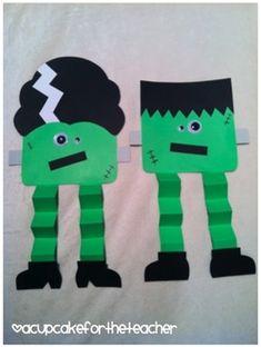 My Frankenstein! Customize Frankenstein craft for kids! Halloween Arts And Crafts, Halloween Crafts For Toddlers, Halloween Crafts For Kids, Halloween Themes, Halloween Art Projects, Halloween Cupcakes, Halloween Party, Halloween Costumes, Daycare Crafts