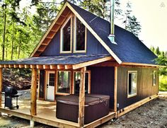 If you are looking for accommodation in the Salmon arm area, come visit the Bluebird Chalet! This cozy chalet is nestled in a lush forest on a large a. Small Cabin Plans, Small Log Cabin, Tiny Cabins, Tiny House Cabin, Cabins And Cottages, Tiny House Design, Small House Plans, Cabin Homes, Cottage House Designs