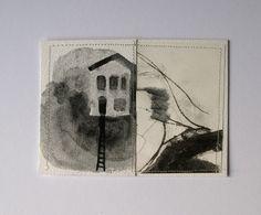 mixed media landscape II - original collage artwork. £20.00, via Etsy.
