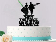 Starwars Bride Groom May The Force Be With You Always with Attachable Glow stick Lightsabre Event Wedding Cake Topper