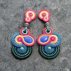 Soutache Earrings, Drop Earrings, Washer Necklace, Jewerly, Handmade, Accessories, Inspiration, Tarot Cards, House
