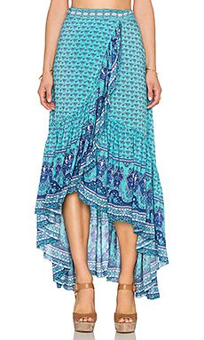 Spell & The Gypsy Collective Sunset Road Wrap Skirt in Aqua