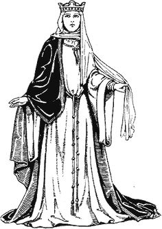 Noble women wore long upper and lower garments. Capes draped over chest, shoulders and arms to the elbows and were widespread from the waist down. Upper part of sleeve folded back to show undergarment. The robe sometimes girded and completed by a semi-circular veil.