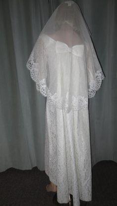 70's Vtg Lorrie Deb White Lace Jackie O Waterfall Train Wedding Bridal Gown…