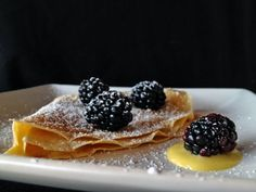 """Meyer Lemon Curd Crepes with Blackberries // Recipe from """"Keys To The Kitchen"""" via The Thoughtful Plate"""