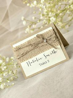 Love the extra detail and the font.Custom listing 10 Rustic Wedding Set Burlap by forlovepolkadots Grey Wedding Stationery, Wedding Stationary, Wedding Programs, Wedding Invitations, Wedding Sets, Wedding Table, Diy Wedding, Spring Wedding, Elegant Wedding