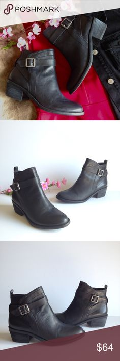 """Vince Camuto Buckled Moto Ankle Boots Super cute Vince Camuto black leather ankle boots, features buckled moto style, inner side zipper for easy access and 1.75"""" heel. In great used condition, some wear as pictured. Size 7. I happily entertain reasonable offers 😊🌸 Vince Camuto Shoes Ankle Boots & Booties"""