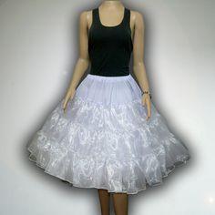 """White 26"""" 50s Retro Underskirt Swing VTG Petticoat Fancy Net Skirt Rockabilly Full Vol Plus Size L-XL"""