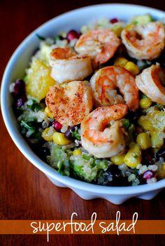 Superfood Salad with Lemon Vinaigrette and Shrimp