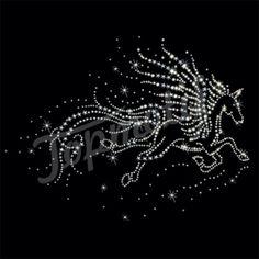 Free running horse rhinestone iron on transfer for tee shirt transfers