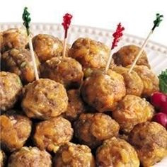 Making appetizers is fun and easy with these cute and tasty sausage balls. They can even be made ahead of time, and frozen. Just thaw and bake when you need them!