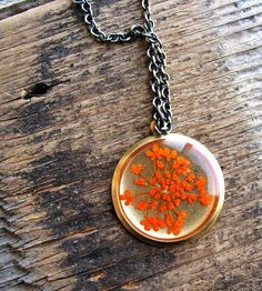 Pressed Orange Queen Anne's Lace Flower Necklace