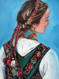 Akryl på lerret 60 x 120 cm Female Portrait, Female Art, Portrait Sketches, Women Figure, Figure Painting, Figurative Art, Folklore, Female Bodies, Illustrator
