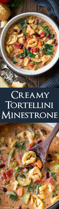 Creamy Tortellini Minestrone Soup - this is the BEST! You'll never want basic #minestrone again. Creamy, hearty, packed with veggies and oh so satisfying!