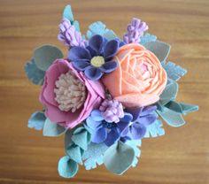 Heirloom Felt Flower Bouquet Peony Ranunculus by ThistleandCrown