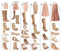 Shoe selection for different length skirts