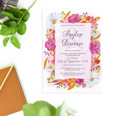 These Watercolour Flower Wedding Invitations feature our hand drawn and hand painted design with colourful flowers and daisies in pinks, yellows and oranges.
