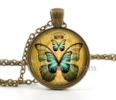 Butterfly Necklace  Picture Jewelry  Butterfly by BluefireSky, $12.95