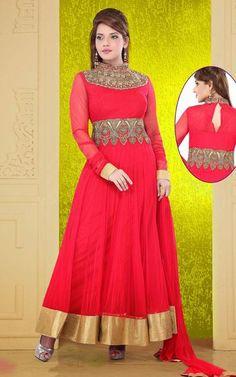 USD 222.66 Red Kasab Work Ankle Length Anarkali Suit 37960