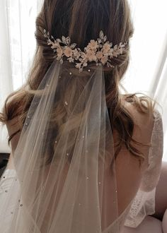 Bridal wedding hair - WISTERIA Floral bridal hair piece, wedding headpiece with blush flowers – Bridal wedding hair Wedding Hair Flowers, Wedding Hair Pieces, Headpiece Wedding, Wedding Dress Styles, Flowers In Hair, Bridal Veils And Headpieces, Blush Wedding Dresses, Clay Flowers, Bridal Dresses