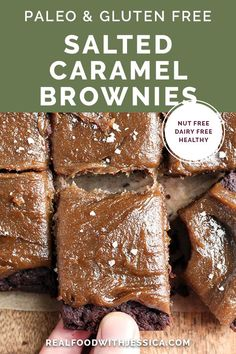 These Paleo Salted Caramel Brownies are a rich treat that everyone will love! A simple, fudgy brownie topped with a thick layer of dairy free caramel. They are nut free, gluten free, dairy free, and naturally sweetened. Paleo Dessert, Paleo Sweets, Dessert Recipes, Healthy Desserts, Cookie Recipes, Paleo Recipes Easy, Dairy Free Recipes, Real Food Recipes, Gluten Free Baking