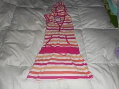 Girls Limited Too Pink Stripe Hooded  Sleeveless Dress Size 7 Used #LimitedToo