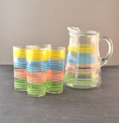 Vintage Pitcher  Drinking Glass Set  Pastel by VintageResolution