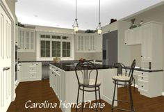 This kitchen layout provides lots of cabinet space, a great island work counter as well as a convenient desk area