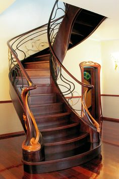 """Inessa"" stairs; Modernist style; by J. Moshans ~ Materials: birch, oak, forged brass, gilding, blackening, malleating, & gold sewing."