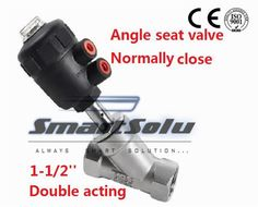 125.99$  Watch now - http://alikny.worldwells.pw/go.php?t=32480595417 - Free shipping  angle seat valve DN40 1 1/2 inch normally close double acting high temperature ss304 body valve 125.99$