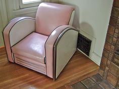 Vintage Jazz Art Deco Club Chair American Single Streamline Art Deco Style Club Chair  Pink White Black and Chrome. $2,400.00, via Etsy.