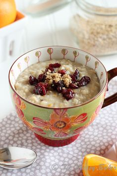 Orange Scented Steel-Cut Oats (I could totally eat this but without the dried fruit)