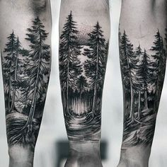 Amazing Guys Forest Inner Forearm Tattoo #ad